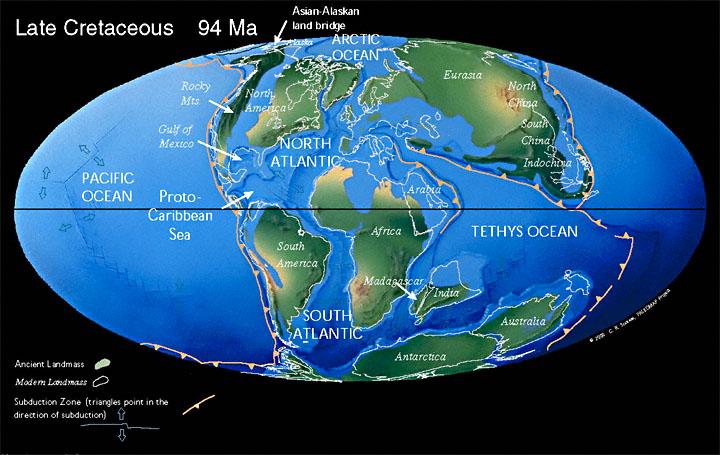 Paleogeographic reconstruction for the Cretaceous