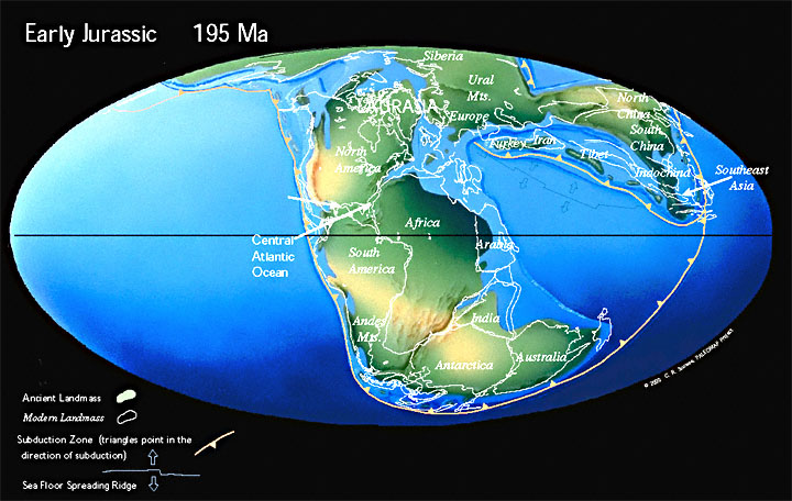 Paleogeographic reconstruction for the Jurassic