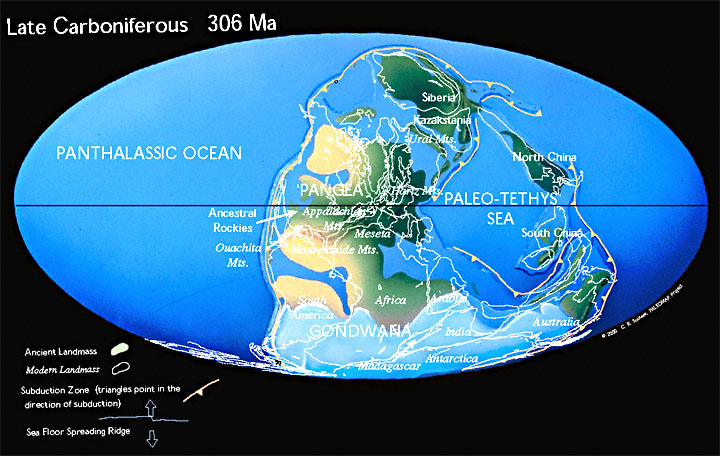 Paleogeographic reconstruction for the Carboniferous