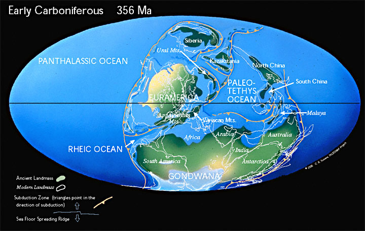 During the early carboniferous pangea begins to form
