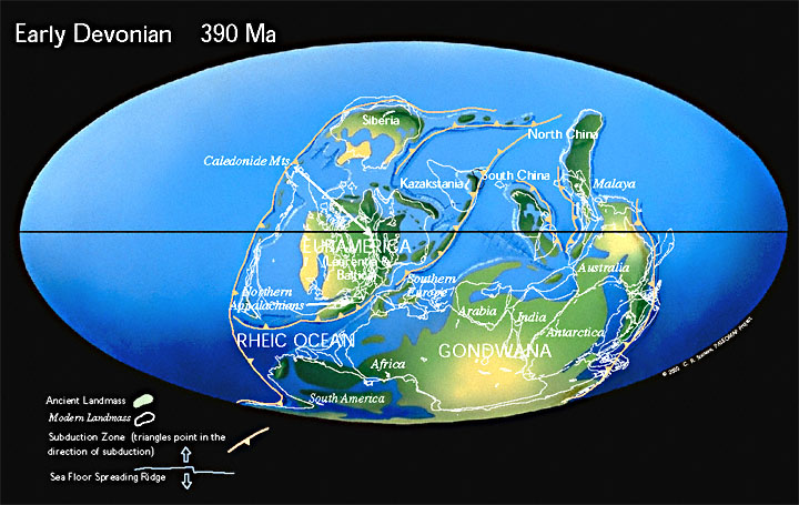 Paleogeographic reconstruction for the Devonian