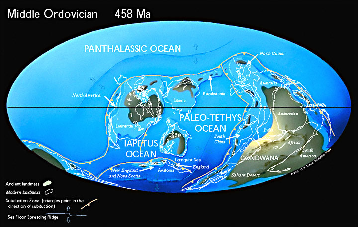Paleogeographic reconstruction for the Ordovician