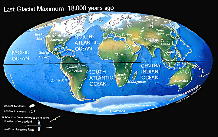 Map of Earth during Last Ice Age